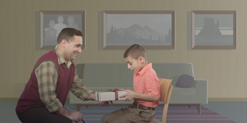 A father gives his little boy a Bible as a gift and he uses it throughout his life