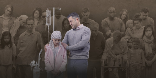 A father is distraught at seeing his sick little girl surrounded by suffering people, but rejoices when they are all healed