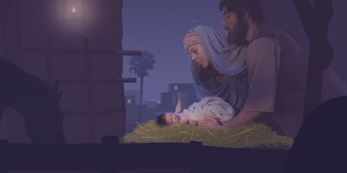 Jesus leaves heaven, is born as a baby, and performs his ministry on earth