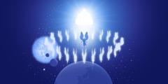 يسوع والملائكة يقفون امام عرش الله