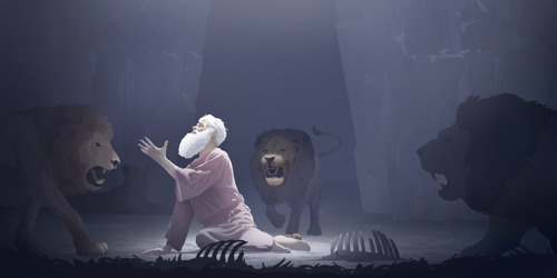 As Daniel is in the lions' pit, an angel comes to protect him