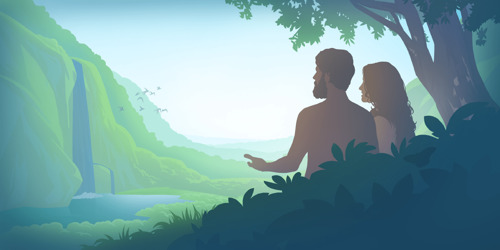 Adam and Eve in the garden of Eden; a family experiences violence and warfare