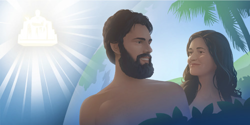 Adam and Eve are happy under God's rulership; Satan observes Adam and Eve growing old