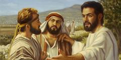 Jesus instructing his disciples