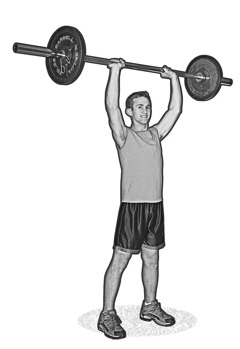 A boy lifting weights