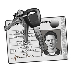A driver's license and car keys