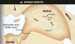 1. Asirski krilati bik; 2. Karta Asirskog carstva