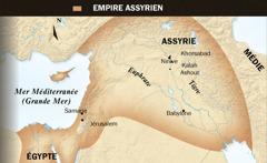 1.Taureau ailé assyrien; 2.Une carte de l'empire assyrien