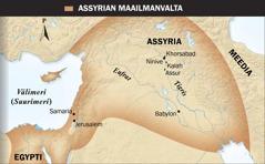 1. Siivekästä sonnia esittävä assyrialainen patsas. 2. Assyrian maailmanvallan kartta