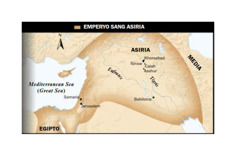 1. May pakpak nga toro sang Asiria; 2. Mapa sang Emperyo sang Asiria