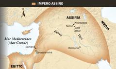 1. Toro alato assiro; 2. Mappa dell'impero assiro