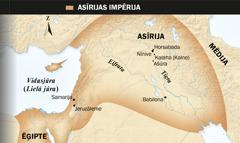 1. Asīriešu spārnotais vērsis; 2. Asīrijas impērijas karte