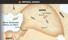 1. Taur înaripat asirian; 2. O hartă a Imperiului Asirian