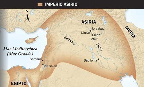 1. Toro alado asirio; 2. Mapa del Imperio asirio