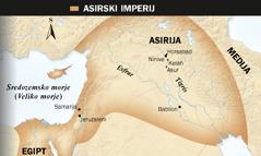 1. Asirski bik s krili; 2. Zemljevid asirskega imperija
