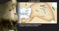 1. Touro alado assírio; 2. Um mapa do Império Assírio