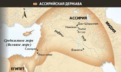 1. Ассирийский крылатый бык;2. Карта Ассирийской державы