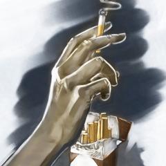 Dłoń zpapierosem