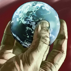 Someone holding the world