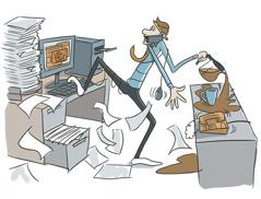 Cartoon von einem Angestellten, der versucht, mehrere Aufgaben auf einmal zu jonglieren