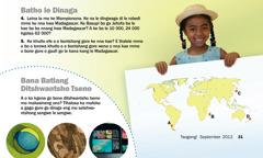 Makasine wa Tsogang! wa September 2012: Batho le Dinaga, Madagascar le Bana Batlang Ditshwantsho Tseno