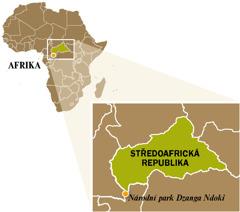 Mapa Středoafrické republiky