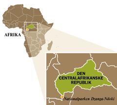 Et kort over Den Centralafrikanske Republik