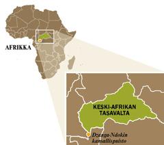 Keski-Afrikan tasavallan kartta