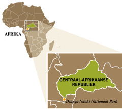 Een kaart van de Centraal-Afrikaanse Republiek