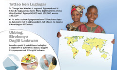 1. Ubbing a taga-Zambia; 2. Ladawan a biroken dagiti ubbing
