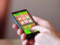 Simulated-gambling app on a smartphone