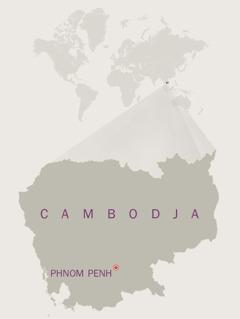 Et kort over Cambodja