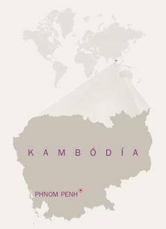 Kort af Kambódíu.