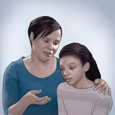 Mãe e filha conversam