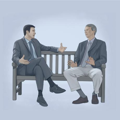 Dois homens conversam sobre um desentendimento que tiveram