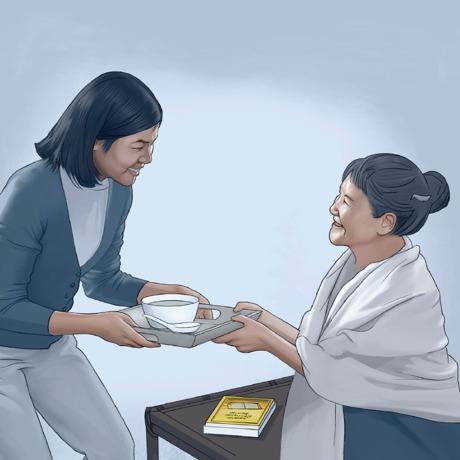 Uma mulher dá de seu tempo para ajudar outra mulher