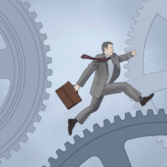 A businessman running on a cog in a machine