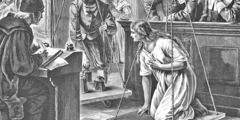 Mit einer als Hexe angeklagten Frau wird die Wiegeprobe gemacht