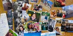 Pictures of friends, family, pets, and other memorabilia, pinned to a cork board