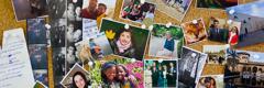 Bacheca con foto di amici, familiari, animali e altri ricordi
