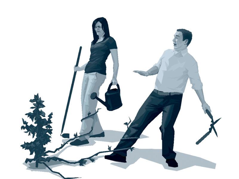 Planta enrollándose en las piernas de un matrimonio