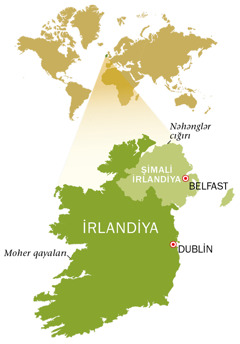 İrlandiya Respublikasının və Şimali İrlandiyanın xəritəsi