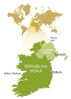 Karta Republike Irske i Sjeverne Irske