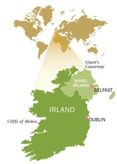 Et kort over Den Irske Republik og Nordirland