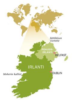 Irlannin ja Pohjois-Irlannin kartta