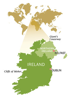 A map of the Republic of Ireland and Northern Ireland