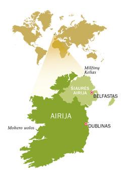 Airijos Respublikos ir Šiaurės Airijos žemėlapis