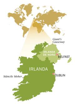 Hartă a Republicii Irlanda şi a Irlandei de Nord