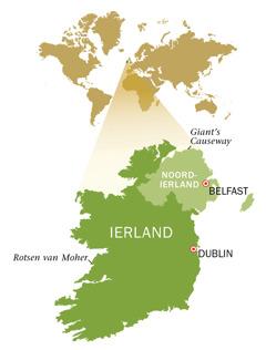 Kaart van de Republiek Ierland en Noord-Ierland