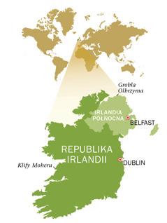 Mapa Republiki Irlandii iIrlandii Północnej